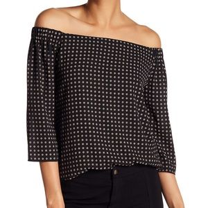 Bailey 44 Patterned off the shoulder blouse